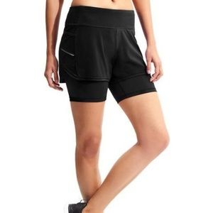 { Athleta } Racer Run 2 in 1 Shorts Sz Small